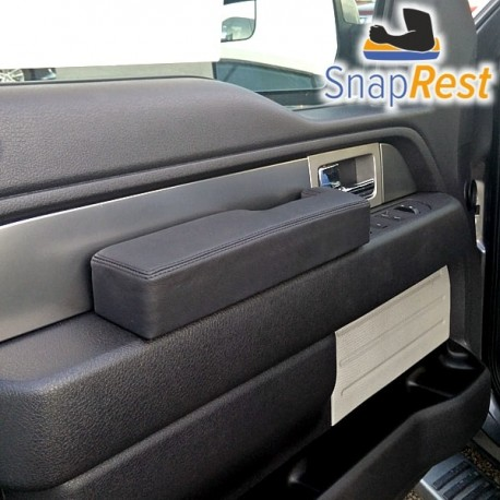 Black with Silver thread Premium leather 2009-14 ONLY The Instant Comfort Armrest for Ford F-150 SnapRest